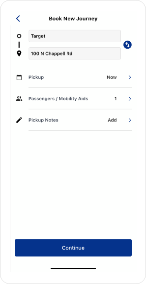 County Express On-Demand App Screenshot Route
