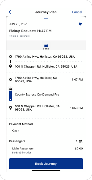 County Express On-Demand App Screenshot Route Details